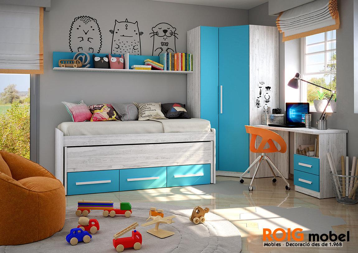 Armarios esquineros juveniles cama compacta a medida con for Mueble esquinero para dormitorio